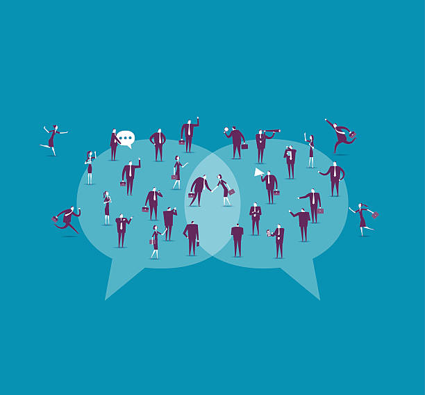 ilustraciones, imágenes clip art, dibujos animados e iconos de stock de comunicación  - reunión evento social
