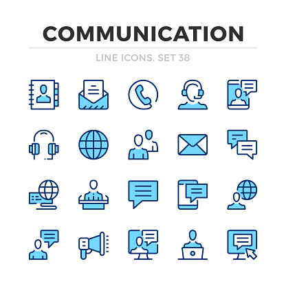 Communication vector line icons set. Thin line design. Modern outline graphic elements, simple stroke symbols. Communication icons
