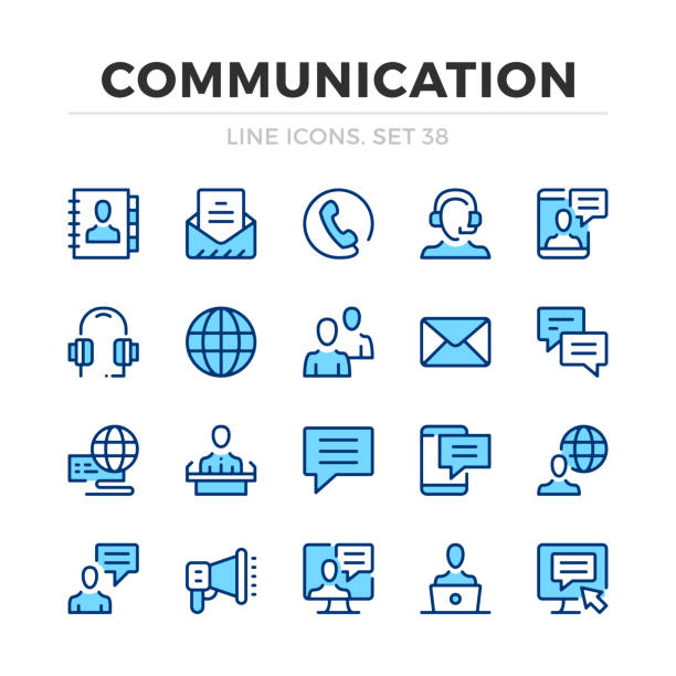 ilustrações de stock, clip art, desenhos animados e ícones de communication vector line icons set. thin line design. modern outline graphic elements, simple stroke symbols. communication icons - video call