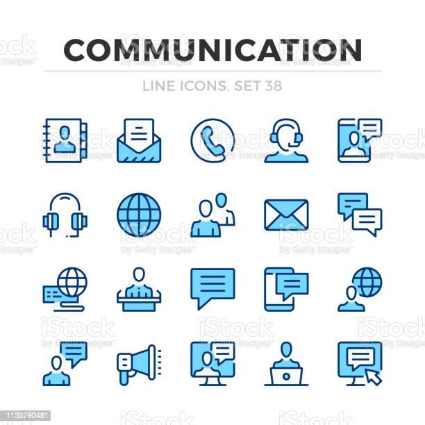 Communication Vector Line Icons Set Thin Line Design Modern Outline Graphic Elements Simple Stroke Symbols Communication Icons - Arte vetorial de stock e mais imagens de A usar um telefone