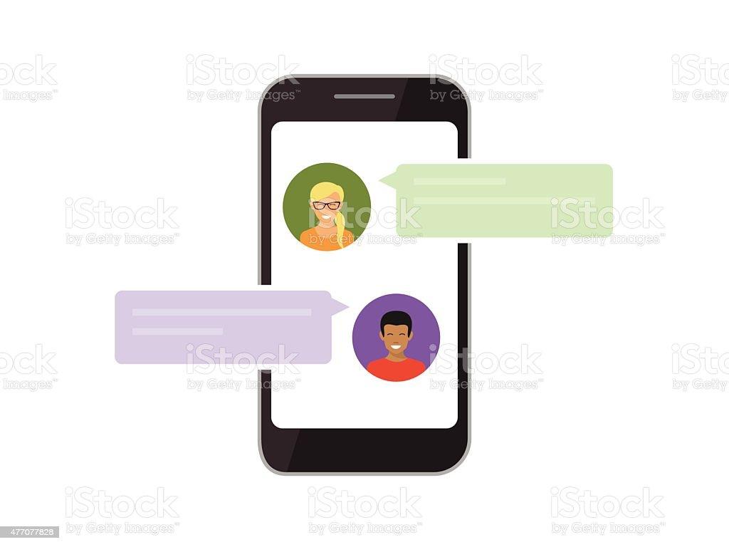 communication via mobile chat vector art illustration