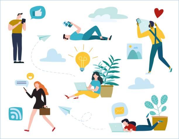 kommunikation über online-abbildung vektor. diverse junge menschen kommunizieren über soziale netzwerke im internet. chat, nachrichten, suche freunde, konzept. flache cartoon-design für mobile banner und web - frau handy stock-grafiken, -clipart, -cartoons und -symbole