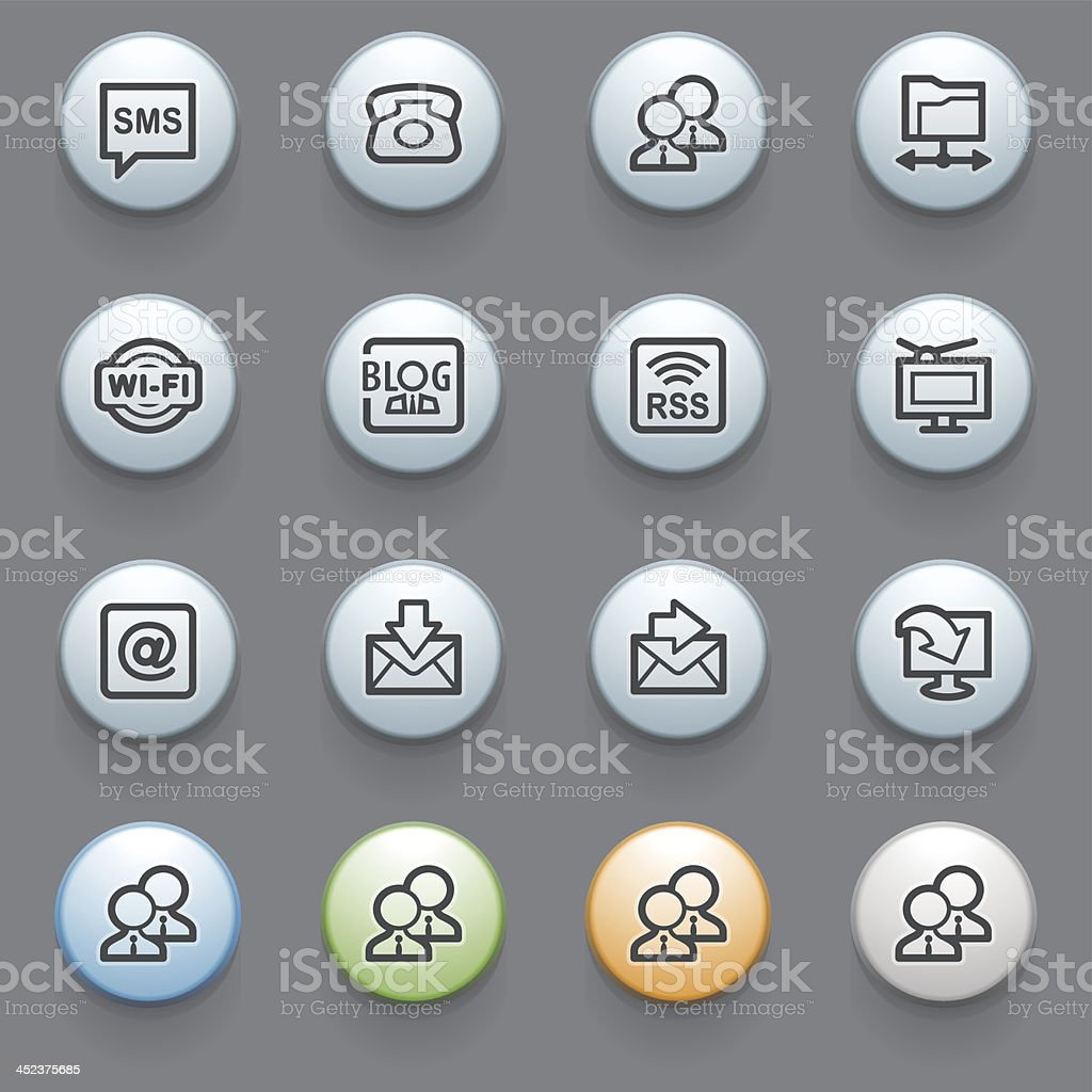 Communication web icons with color buttons on gray background.