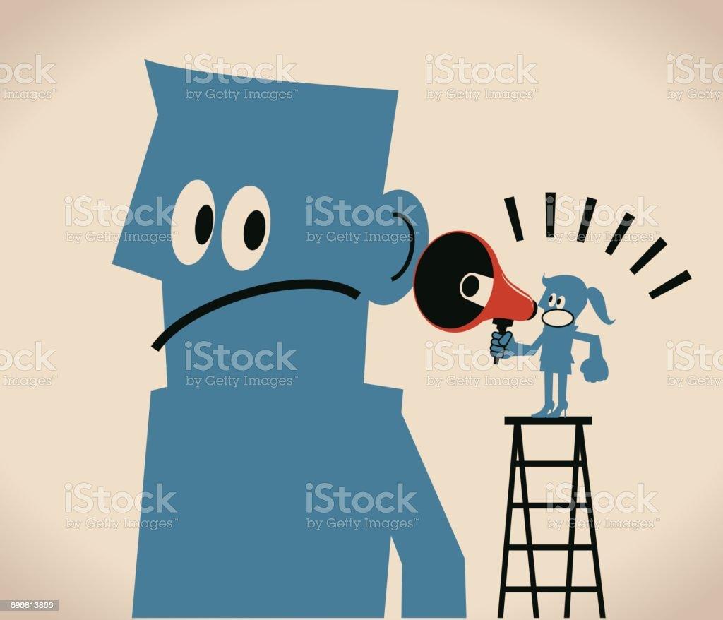 Communications between man and women, Businesswoman on ladder with megaphone (bullhorn) talking (speaking, scolding) to a man - ilustração de arte vetorial