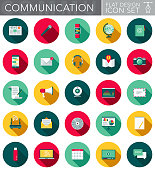 A communication and technology themed circular flat design style icon set with a long side shadow. File is cleanly built and easy to edit. Vector file is built in the CMYK color space for optimal printing.