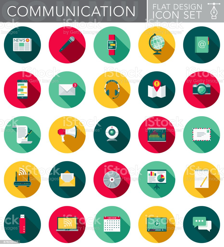 Communications Flat Design Icon Set with Side Shadow vector art illustration