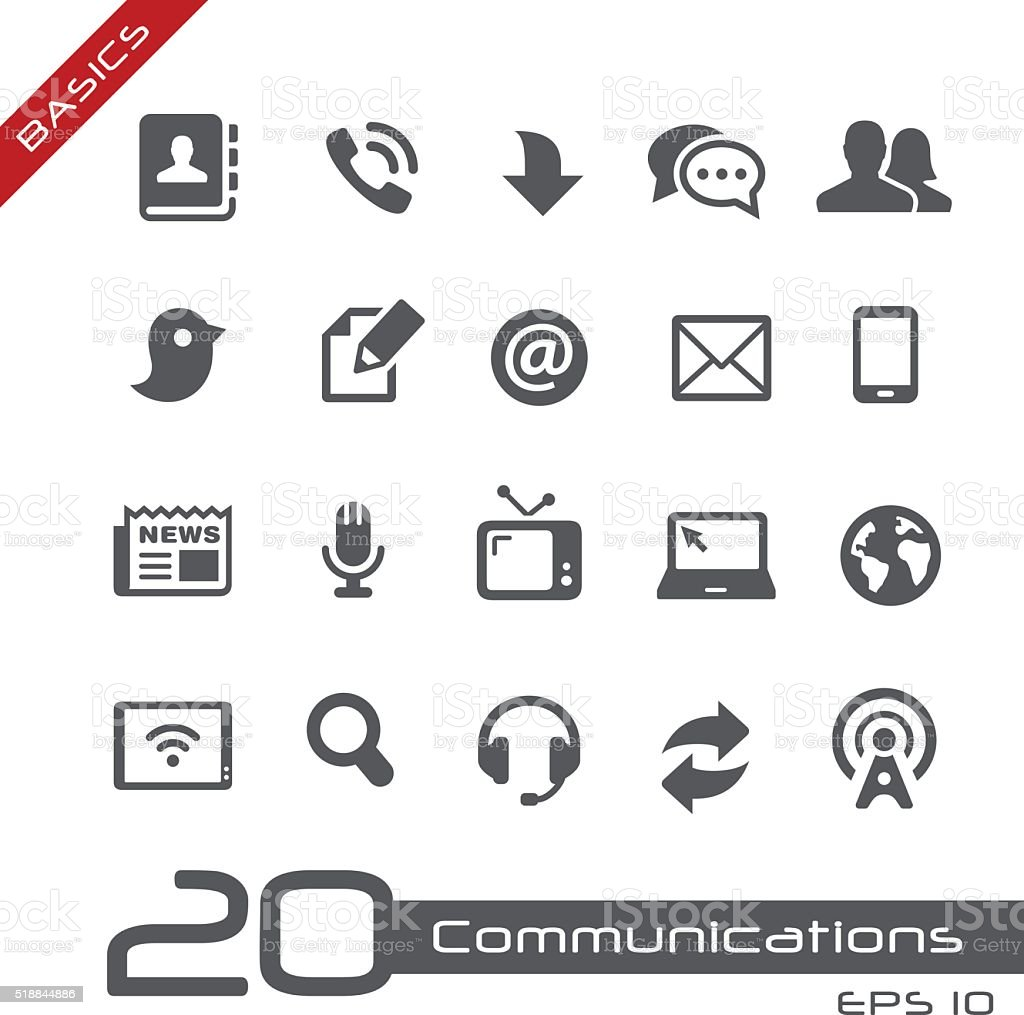 Communications Icon Set - Basics vector art illustration