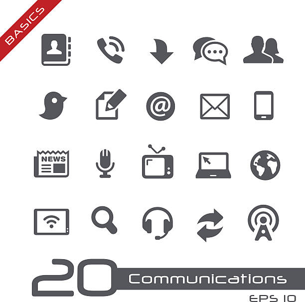 Communications ensemble de icône de base - Illustration vectorielle