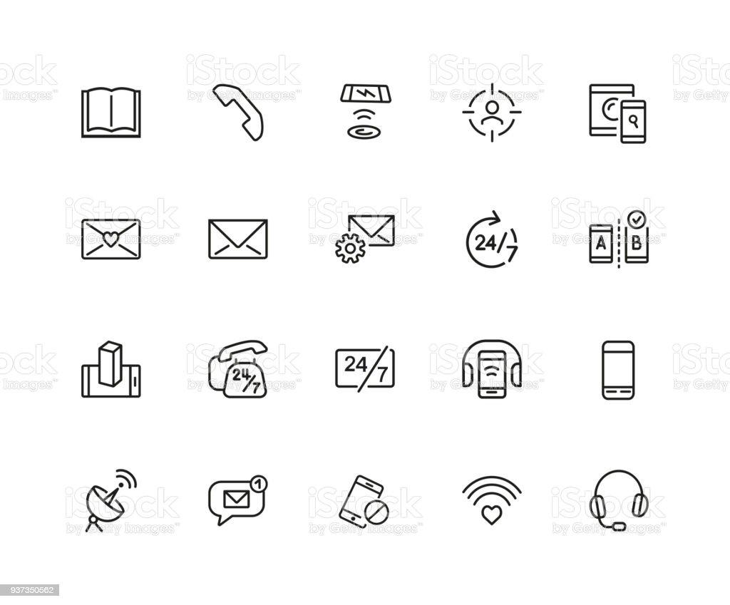 Communications icon set vector art illustration