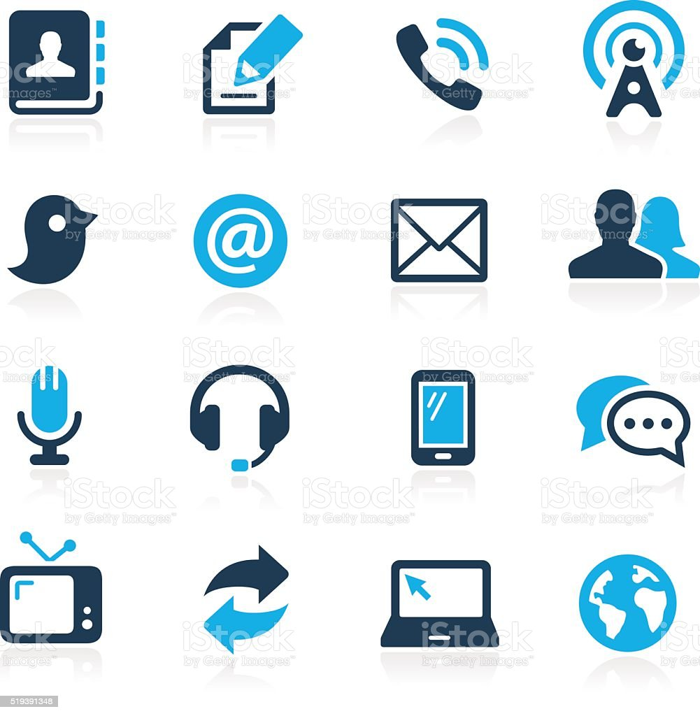 Communications Icons // Azure Series vector art illustration