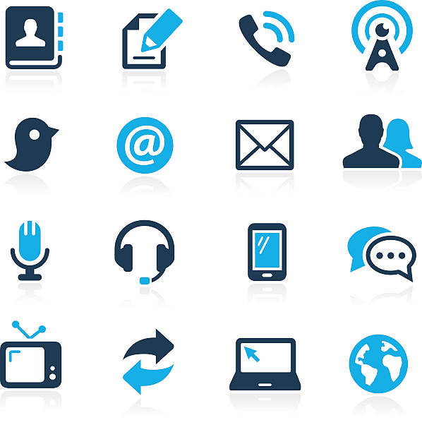 Communications Icons // Azure Series Telecommunications vector icons for your website or presentations. email signs stock illustrations