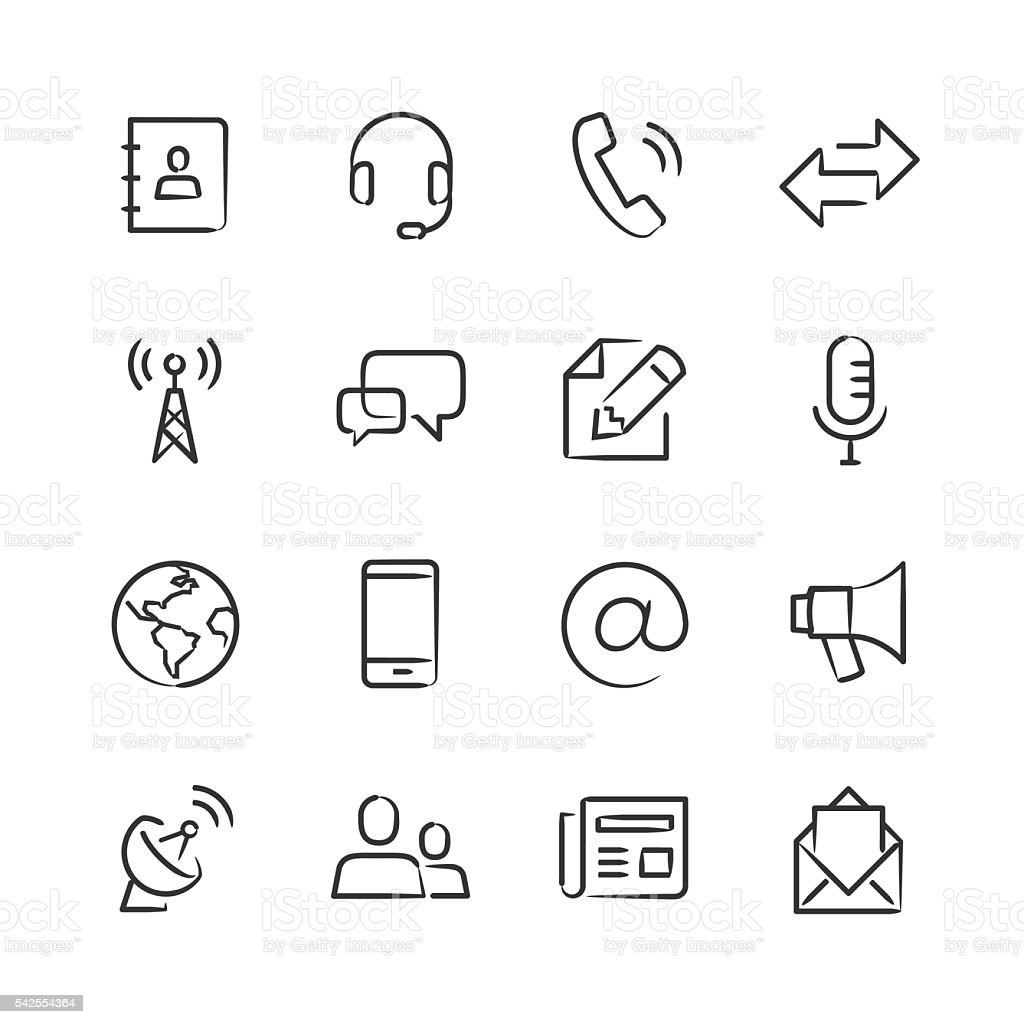 Communications Icons — Sketchy Series vector art illustration