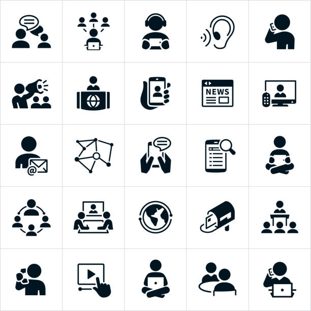 stockillustraties, clipart, cartoons en iconen met communicatie iconen - journalist