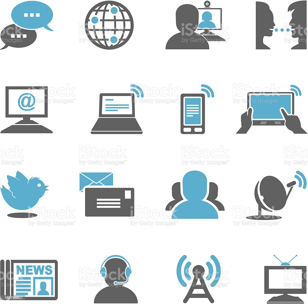 Communications Icons vector art illustration