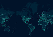 Communications network map of the world, Centered in the American continent