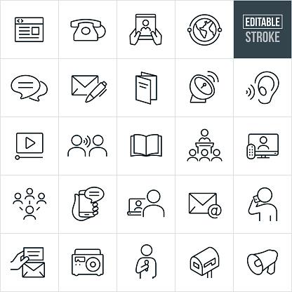 Communications Thin Line Icons - Editable Stroke