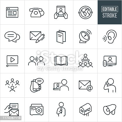 A set of communications icons that include editable strokes or outlines using the EPS vector file. The icons include a webpage, telephone, tablet pc, global communications, chat, letter and pen, brochure, satellite dish, listening ear, video, word of mouth, book, magazine, speech, television, social media, smartphone, laptop pc, email, person talking on phone, not, radio, mailbox and bullhorn to name a few.