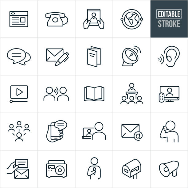 Communications Thin Line Icons - Editable Stroke A set of communications icons that include editable strokes or outlines using the EPS vector file. The icons include a webpage, telephone, tablet pc, global communications, chat, letter and pen, brochure, satellite dish, listening ear, video, word of mouth, book, magazine, speech, television, social media, smartphone, laptop pc, email, person talking on phone, not, radio, mailbox and bullhorn to name a few. book icons stock illustrations
