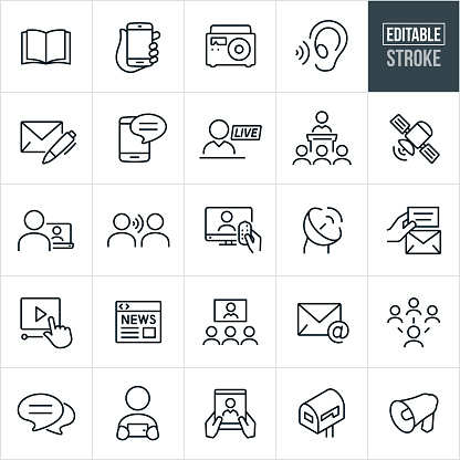 A set of communications icons that include editable strokes or outlines using the EPS vector file. The icons include an open book, hand holding smartphone, radio, listening ear, letter with pen, text on mobile phone, live broadcast, person giving speech to an audience, satellite, person watching video on laptop, word of mouth, television, satellite, online video, online news, video conference, email, social media, chat bubble, person viewing smartphone, tablet pc, mailbox and bullhorn.