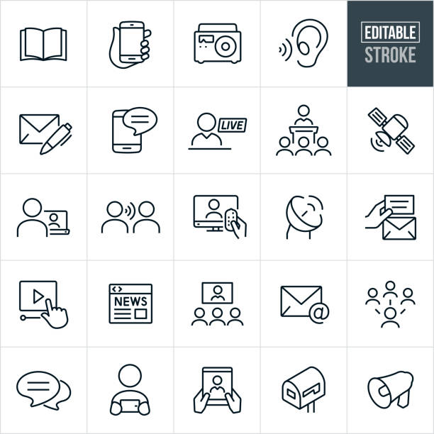 Communications Thin Line Icons - Editable Stroke A set of communications icons that include editable strokes or outlines using the EPS vector file. The icons include an open book, hand holding smartphone, radio, listening ear, letter with pen, text on mobile phone, live broadcast, person giving speech to an audience, satellite, person watching video on laptop, word of mouth, television, satellite, online video, online news, video conference, email, social media, chat bubble, person viewing smartphone, tablet pc, mailbox and bullhorn. book symbols stock illustrations