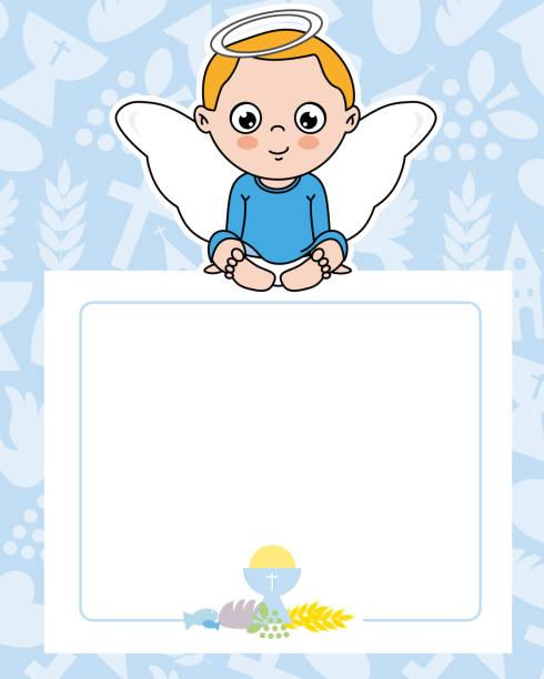 ilustraciones, imágenes clip art, dibujos animados e iconos de stock de tarjeta de comunión - bautizo