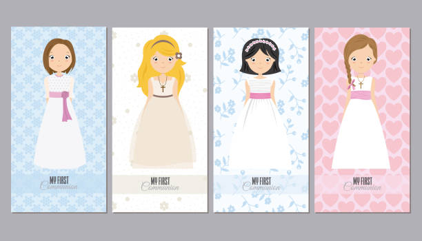communion cards girls - communion stock illustrations, clip art, cartoons, & icons