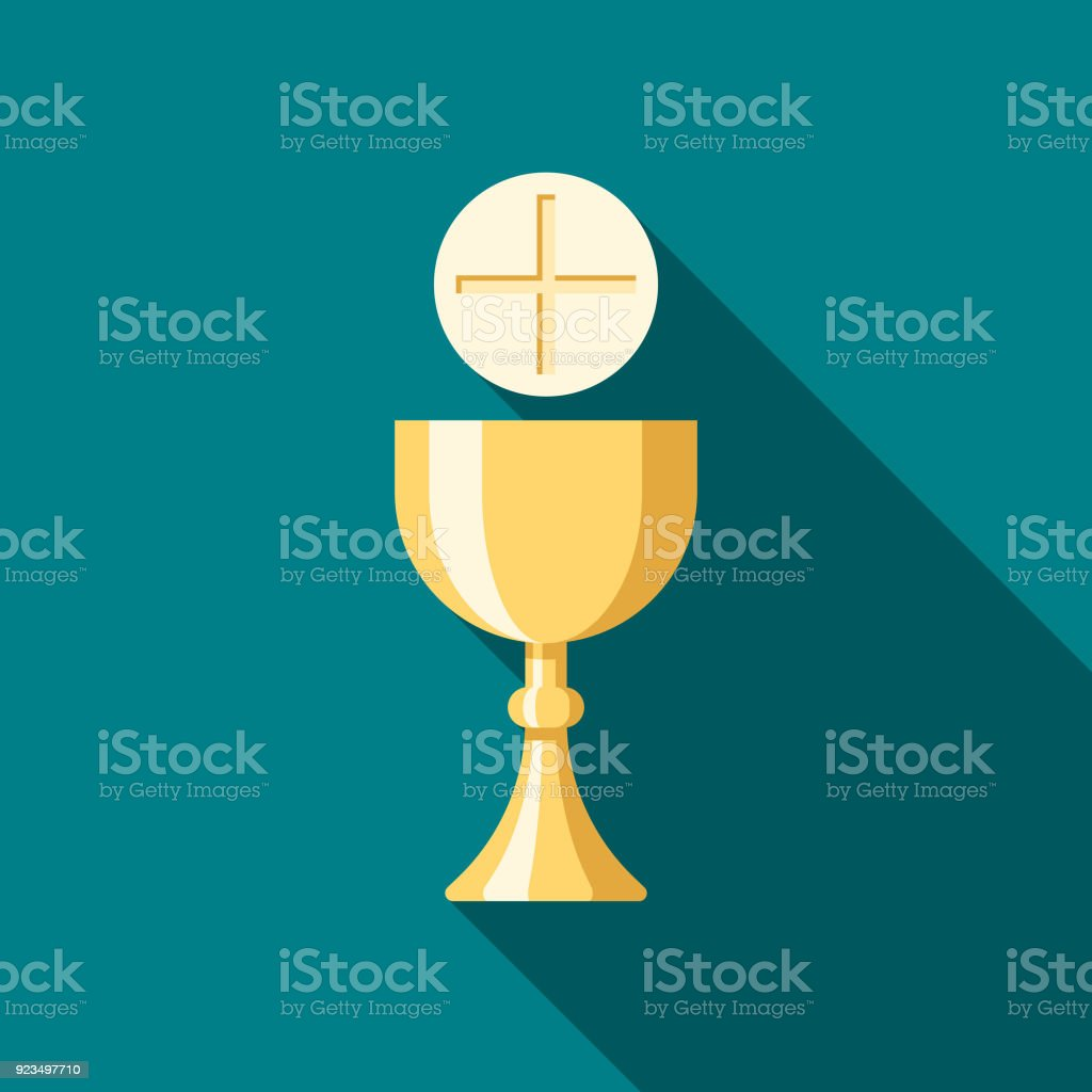 Communion Flat Design Easter Icon with Side Shadow vector art illustration