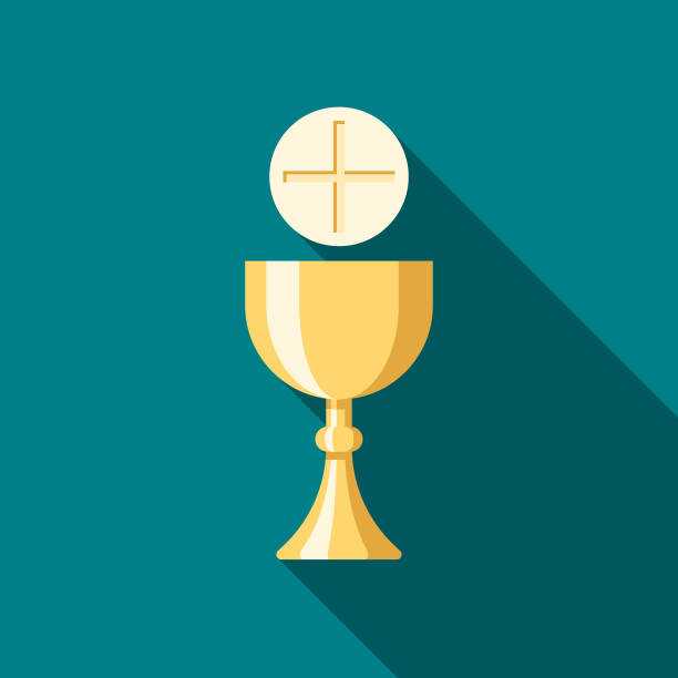 communion flat design easter icon with side shadow - communion stock illustrations, clip art, cartoons, & icons