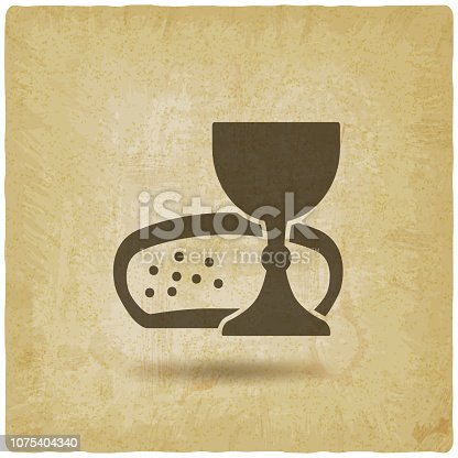 Communion symbol wine and bread vintage background. vector illustration - eps 10