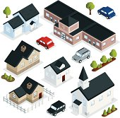 Isometric buildings of homes, a church, a school building and vehicles.