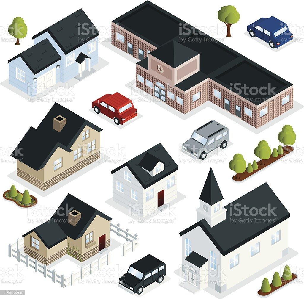 Community Buildings vector art illustration