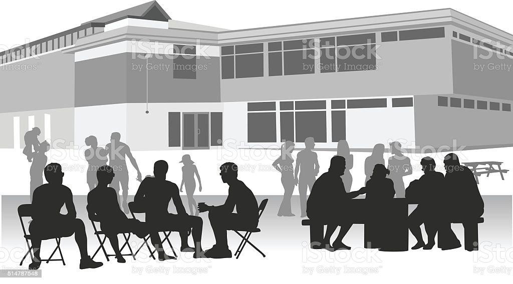 Community Center Social Groups vector art illustration
