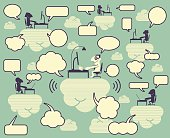 Community Cloud, group of smiling people using computer on clouds