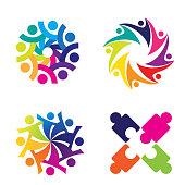 Community colorful theme icon set clip art design