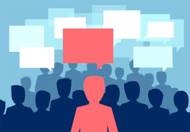 ilustrações, clipart, desenhos animados e ícones de conceito de comunicação comunitária. vetor de uma multidão dos povos que comunica com uma pessoa que tem uma opinião diferente - feedback