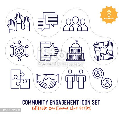 Community engagement vector icons set for logo, emblem or symbol use. This collection is part of single line minimalist drawing series with editable strokes.