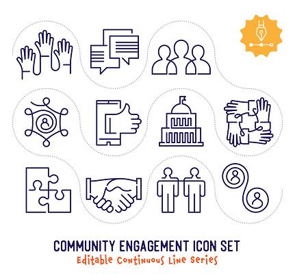 Community Engagement Editable Continuous Line Icon Pack