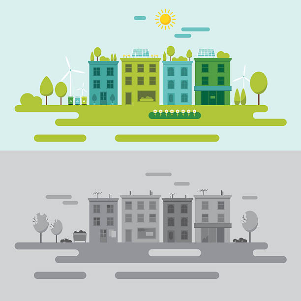 Community environment concept Vector illustration of bleak polluted and green environment-friendly urban scenes in modern flat design. Easy to edit, elements are grouped, no effects. urban gardening stock illustrations