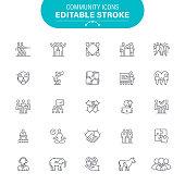 Charity, USA, Hand, People, Community, Care, Editable Icon Set