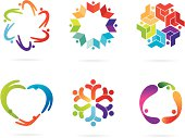 A set of a community theme logos. All design elements are layered and grouped. Cleanly labeled. Simple gradient was used. Aics3, EPS8 and Hi-res jpg files are included.