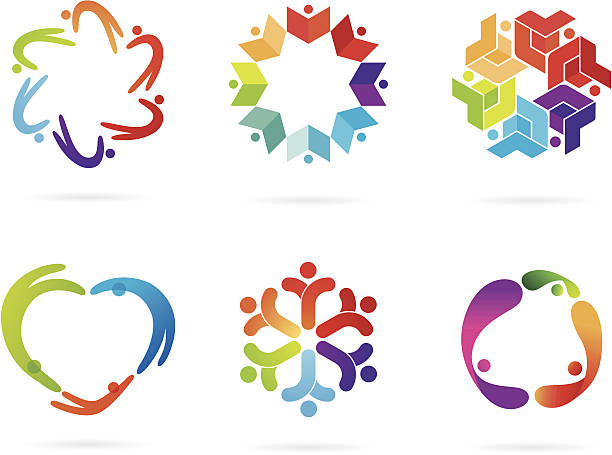 Community logos A set of a community theme logos. All design elements are layered and grouped. Cleanly labeled. Simple gradient was used. Aics3, EPS8 and Hi-res jpg files are included. book clipart stock illustrations