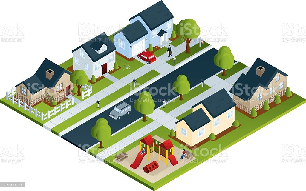Community Neighborhood vector art illustration