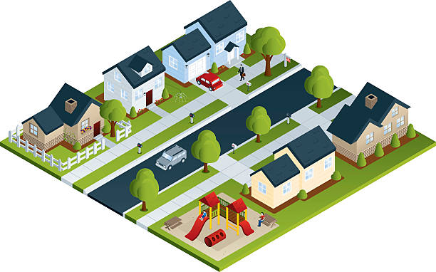 stockillustraties, clipart, cartoons en iconen met community neighborhood - garden house