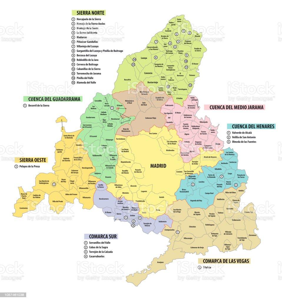 Mapa Comunidad De Madrid Politico.Ilustracion De Comunidad De Mapa Administrativo Y Politico