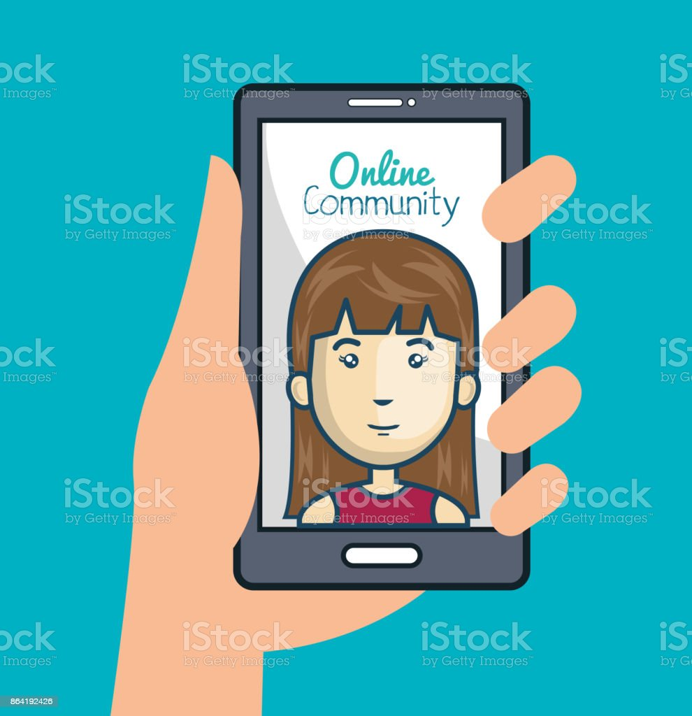 community online with hand holdign smartphone royalty-free community online with hand holdign smartphone stock vector art & more images of adult