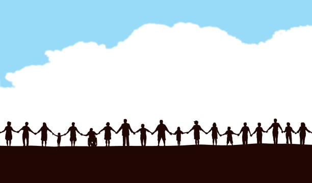Community, People in a Row Holding Hands Silhouette illustration of a row of people holding hands against blue sky community silhouettes stock illustrations