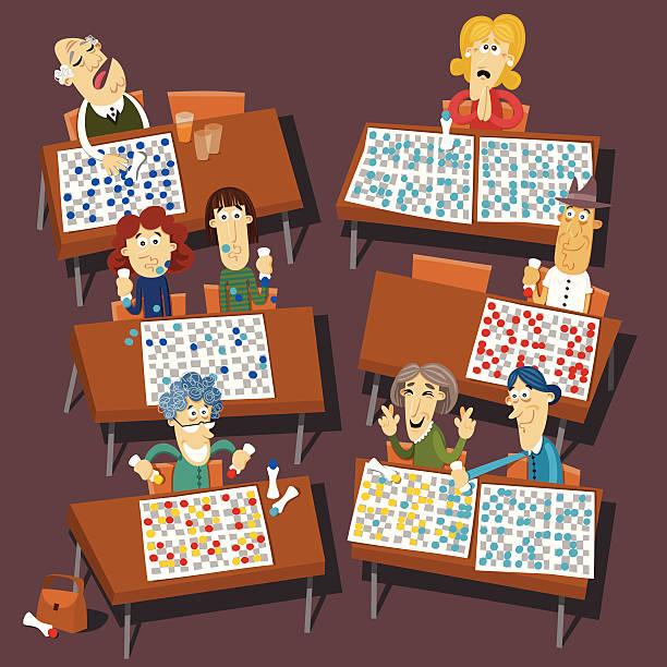 Community Playing Bingo vector art illustration
