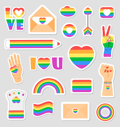LGBTQ community set vectors. Icons of pride flags, rainbow colored pencil, heart, hand are shown. Pride month concept illustration. Arrow, ring, envelope in gay, bisexuan symbols.