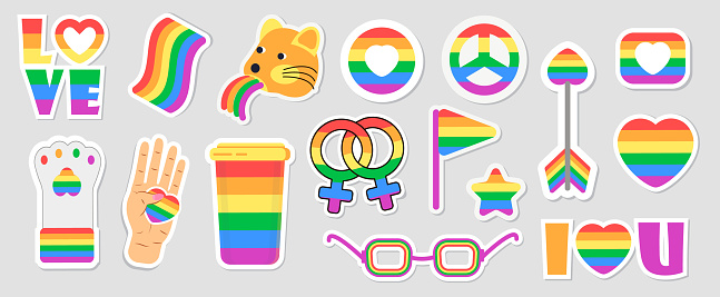 LGBT community set vectors. Icons of pride flags, rainbow colored pencil, heart, hand are shown. Pride month concept illustration. Arrow, ring, envelope in gay, bisexual