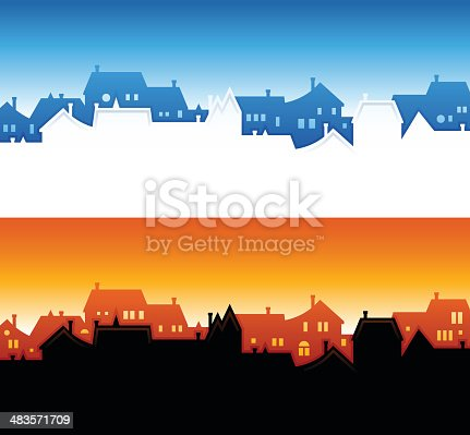 Neighborhood and community skyline backgrounds with copy space.